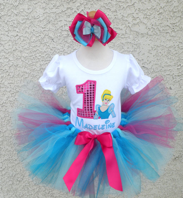 Customized Blue and Pink Vintage Cinderella Inspired Girls Birthday Outfit