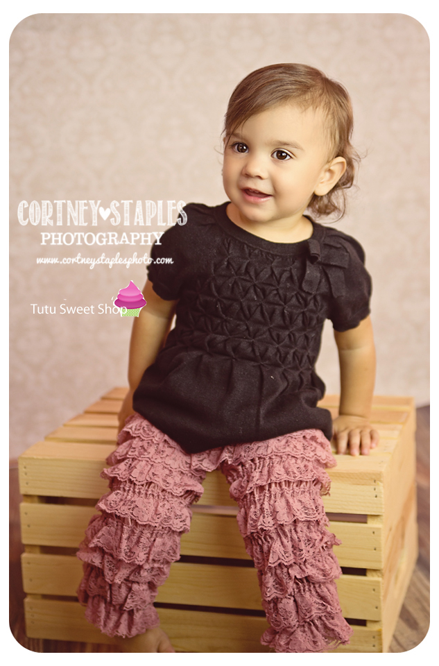 Dusty Rose Lace Ruffled Pettipants Leggings