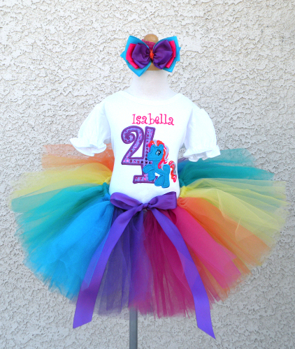 Personalized Rainbow Dash Sequin Pony Birthday Outfit For Girls