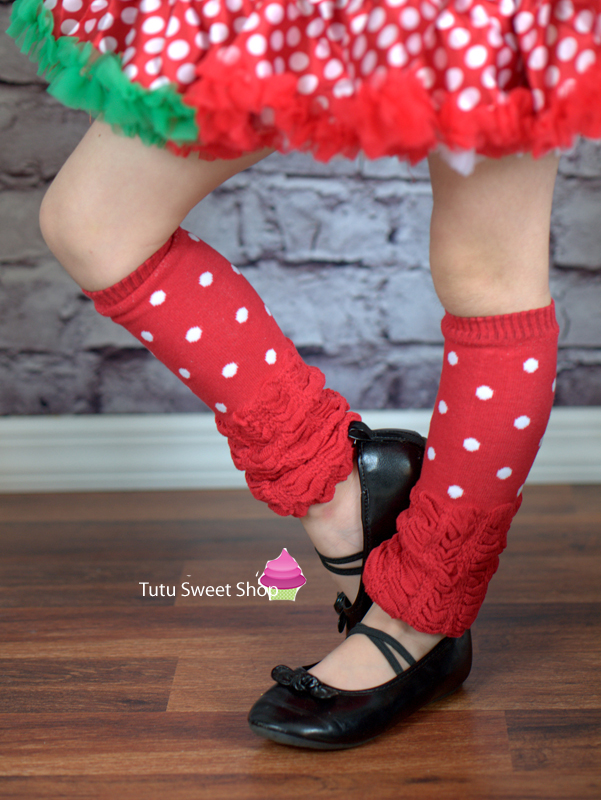 Red and White Polka Dot Slouch Legwarmers