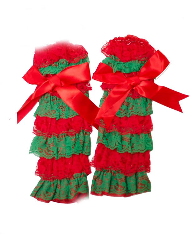 Red and Green Girls Ruffled Christmas Legwarmers With Bows