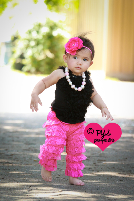 Hot Pink Lace Ruffled Petti Pants Leggings