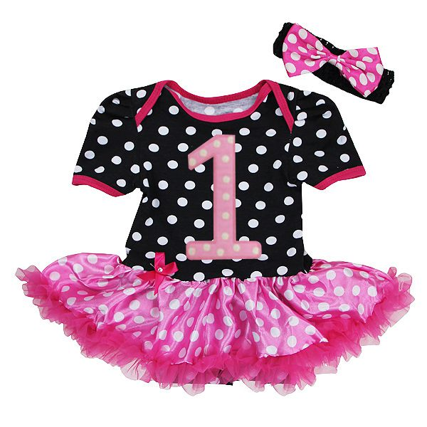 Black and Pink Polka Dot 1st Birthday 2 Piece Onesie Baby Tutu Outfit