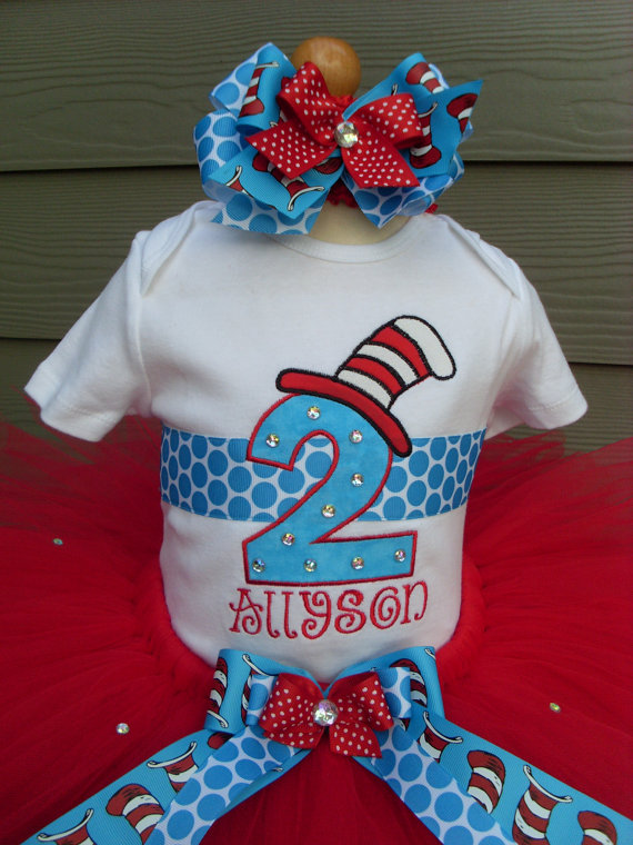 Personalized Bling Cat In The Hat Birthday Tutu Set