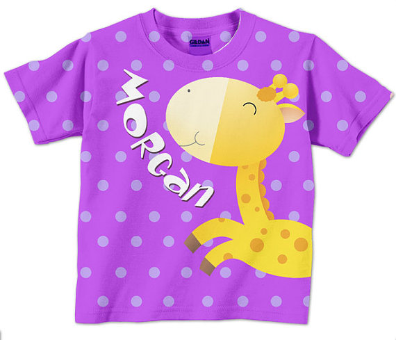 Personalized Purple Polka Dot Giraffe Shirt