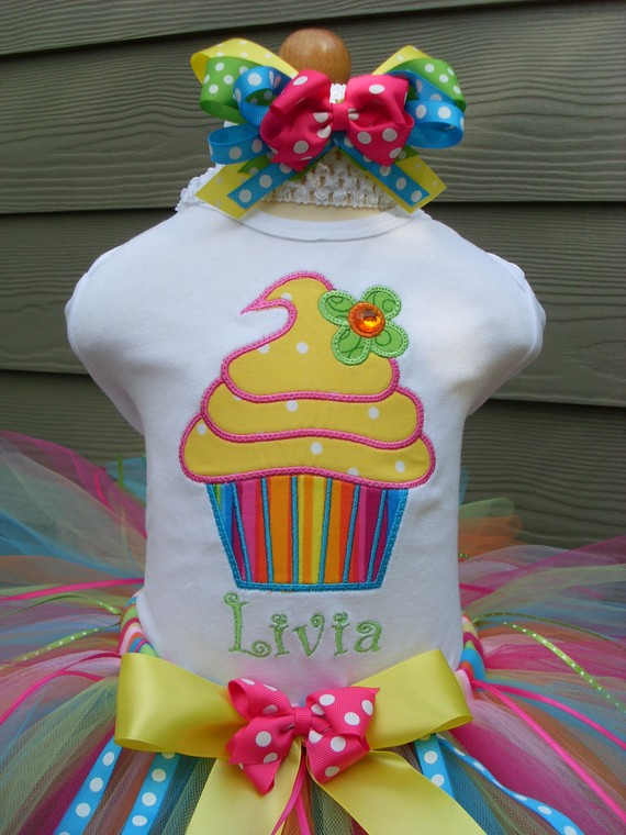 Lemon Dots Rainbow Cupcake Birthday Tutu Set
