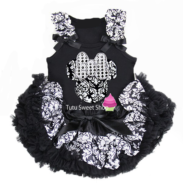 Damask Print Minnie Inspired Newborn Baby Tutu Outfit