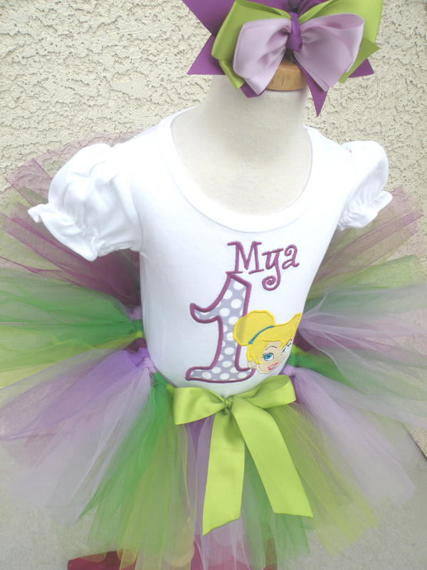 Customized Purple and Green Princess Cinderella Inspired Girls Birthday Outfit