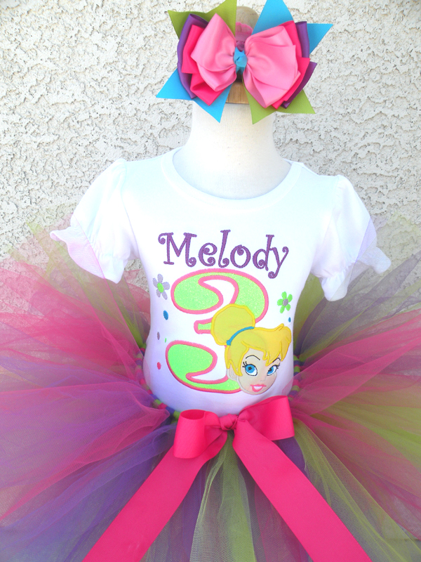 Customized Neon Princess Tinkerbelle Inspired Girls Birthday Outfit