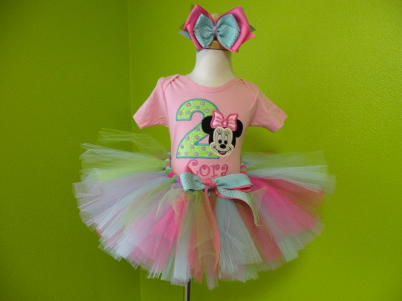 Personalized Pink and Blue Girl Mouse Birthday Outfit For Girls