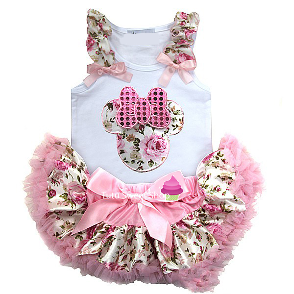 Pink Floral Minnie Inspired Newborn Baby Tutu Outfit