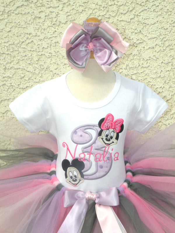 Personalized Minnie and Mickey Inspired Birthday Outfit For Girls