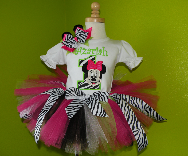 Customized Funky Zebra Print Girl Mouse Birthday Outfit For Girls