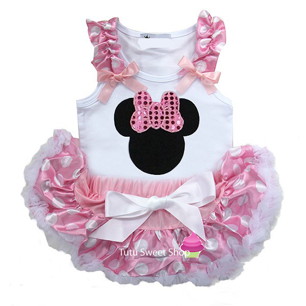 Pink Polka Dot Minnie Inspired Newborn Baby Tutu Outfit