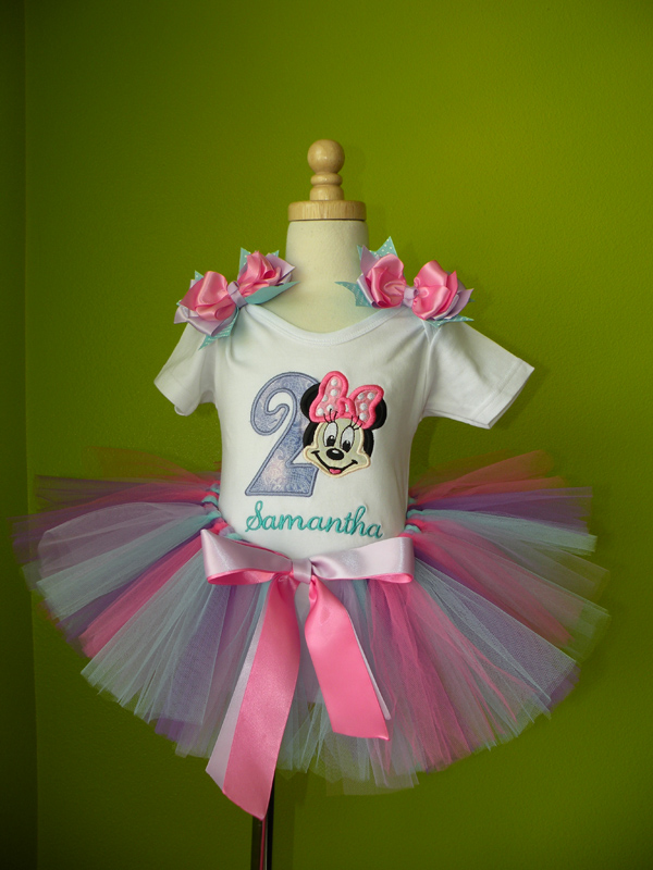 Customized Pink and Purple Girl Mouse Birthday Outfit For Girls