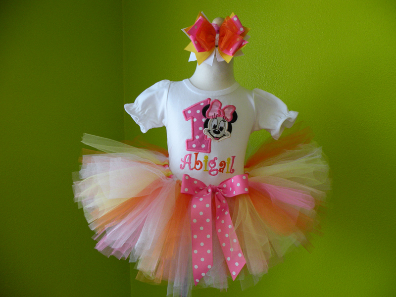 Personalized Pink, Yellow and Orange Girl Mouse Birthday Outfit For Girls