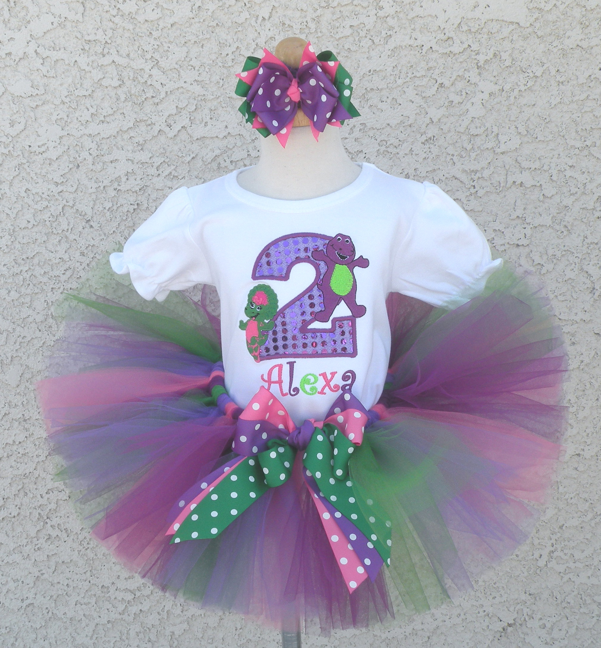 Personalized Purple, Green, Pink Barney Birthday Clothing For Girls