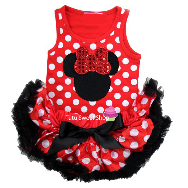 Red and Black Polka Dot Minnie Inspired Newborn Baby Tutu Outfit