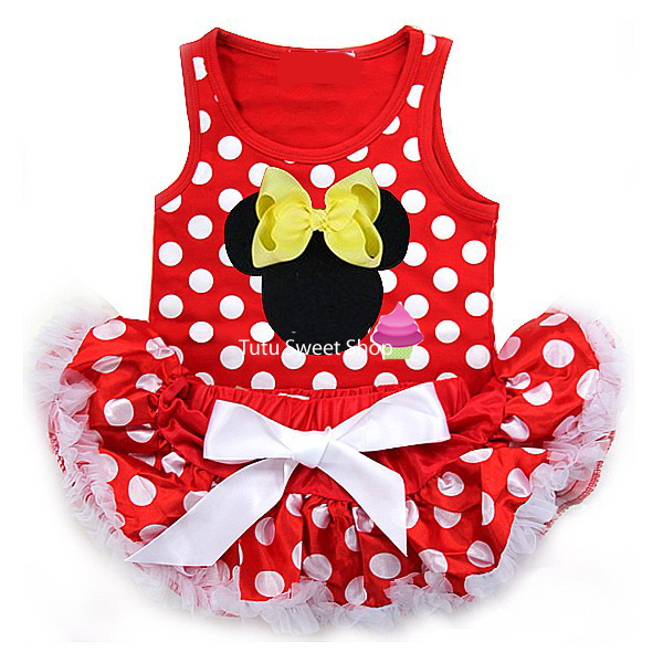 Red and Yellow Polka Dot Minnie Inspired Newborn Baby Tutu Outfit