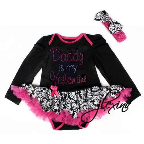 2 Piece Bling Damask Daddy is My Valentine Baby Tutu Dress Outfit