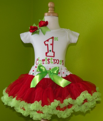Red and Green 1st Christmas Tutu Outfit