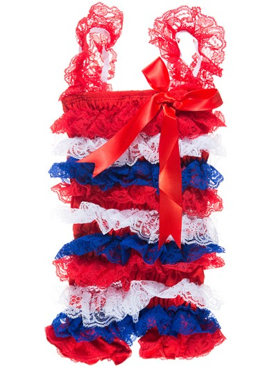 4th of July Lace Petti Romper