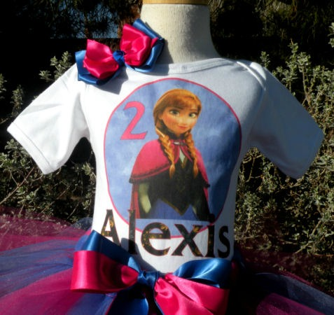 Customized Navy Blue and Pink Frozen Anna Inspired Girls Birthday Outfit