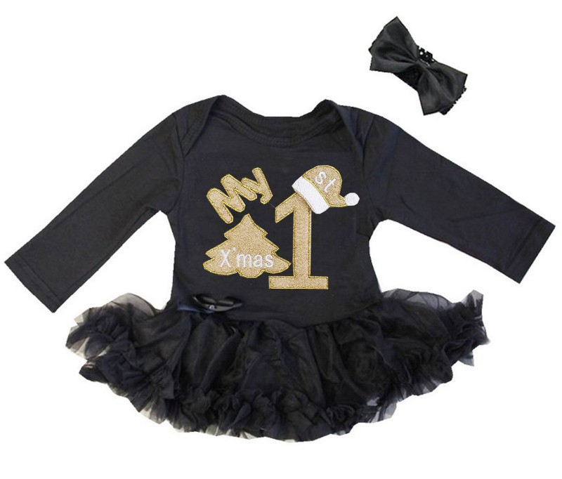 2 Piece Black and Gold My First Christmas Baby Girl Tutu Dress