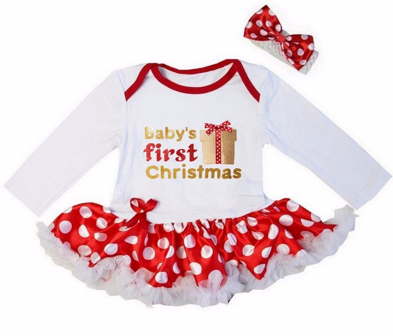2 Piece Red and White Baby's First Christmas Baby Girl Tutu Dress - Present