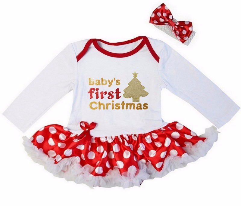 2 Piece Red and White Baby's First Christmas Baby Girl Tutu Dress - Tree