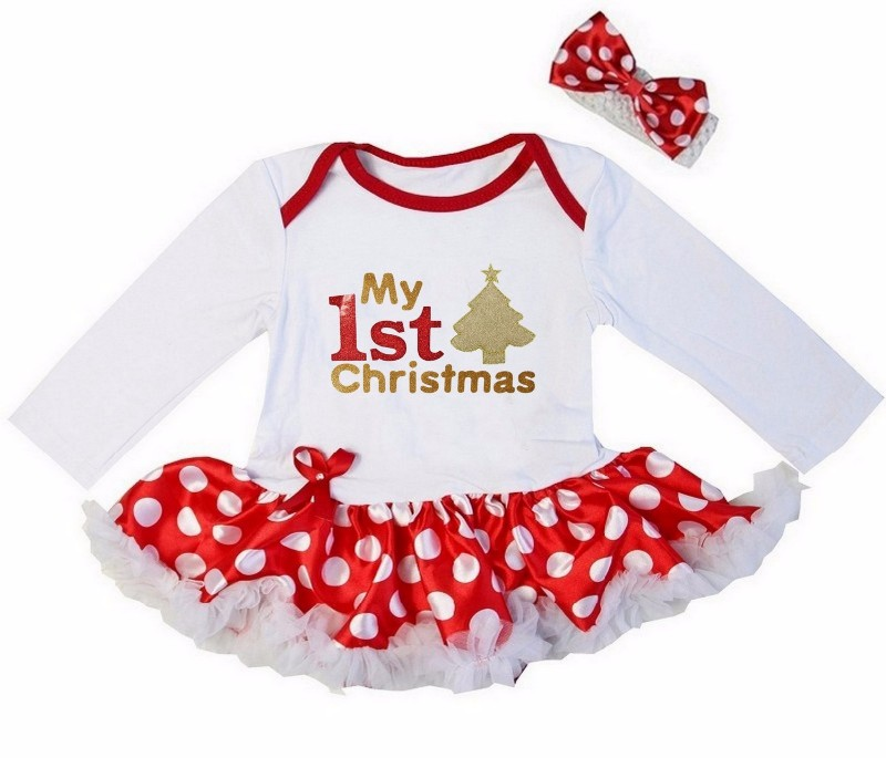 2 Piece Red White My First Christmas Baby Girl Tutu Dress - Christmas Tree