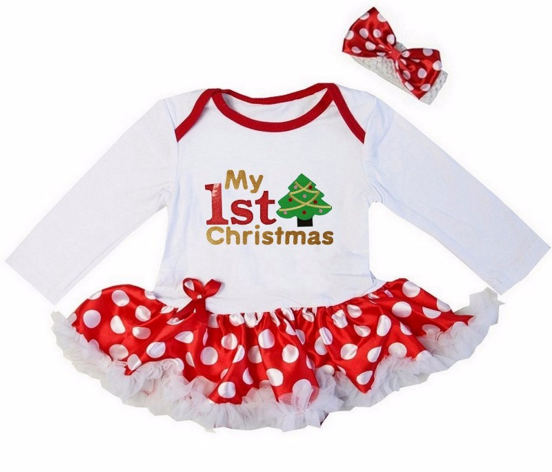 2 Piece Red White My First Christmas Baby Girl Tutu Dress - Green Christmas Tree