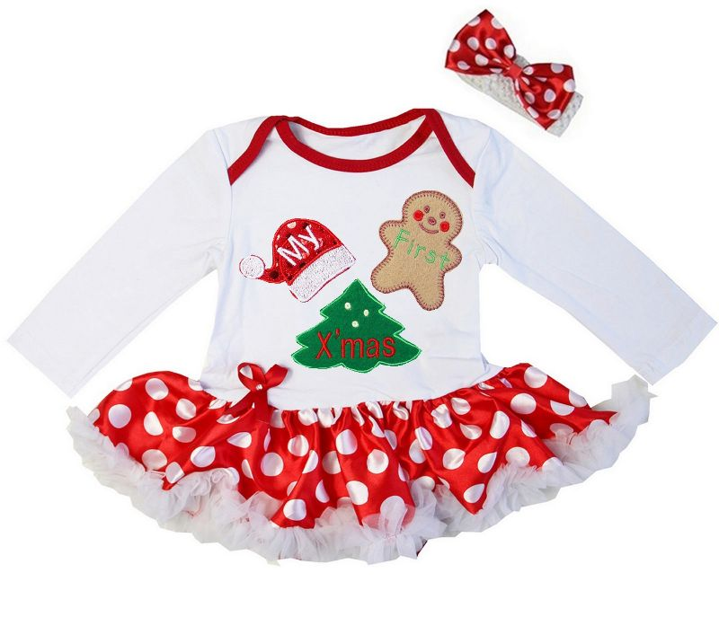 2 Piece Red and White Polka Dot My First Christmas Baby Girl Tutu Dress