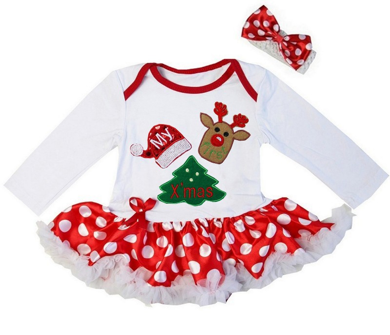 2 Piece Red White My First Christmas Baby Girl Tutu Dress - Reindeer