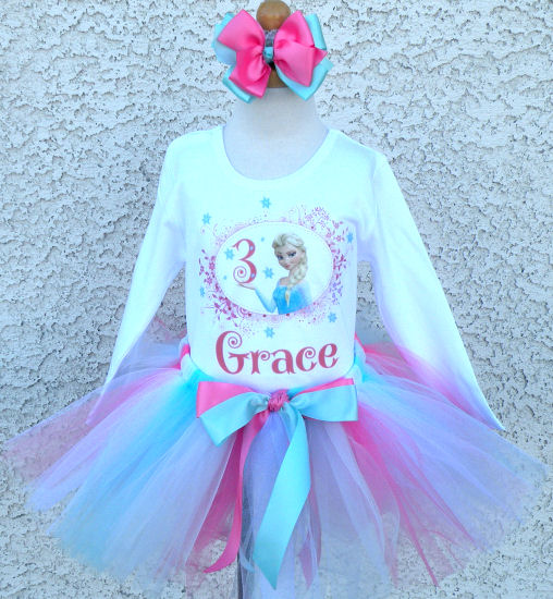 Personalized Pink and Blue Frozen Elsa Inspired Birthday Outfit For Girls