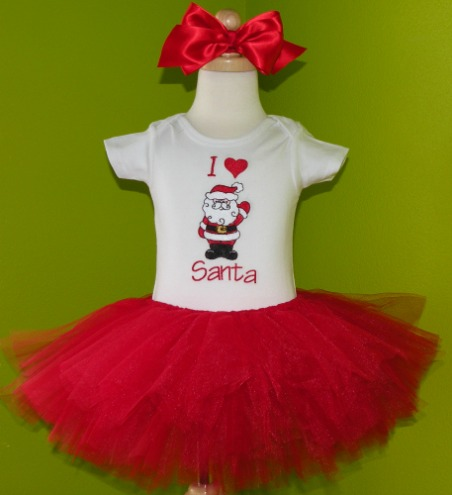 I Heart Santa Girls Christmas Outfit
