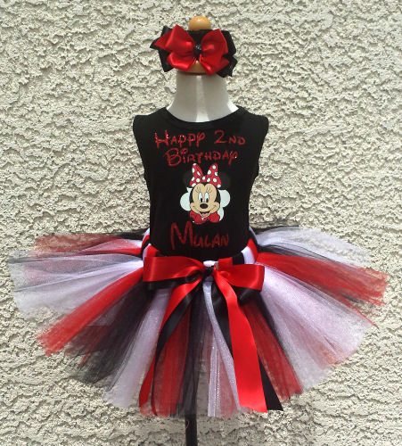 Customized Black and Red Glitter Minnie Inspired Birthday Tutu Outfits