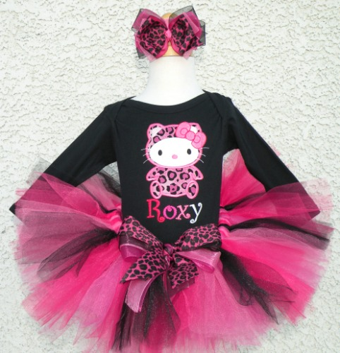 Personalized Pink Leopard Print Kitty Tutu Set