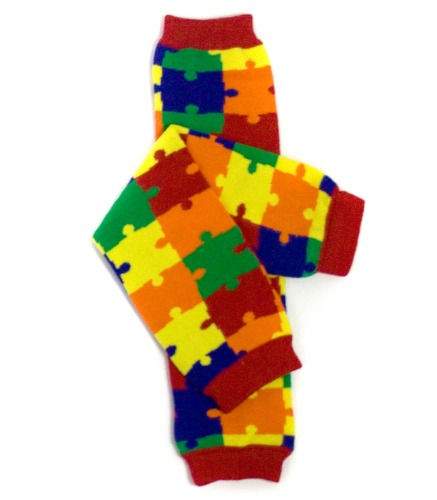 Rainbow Puzzle Pieces Kids Legwarmers