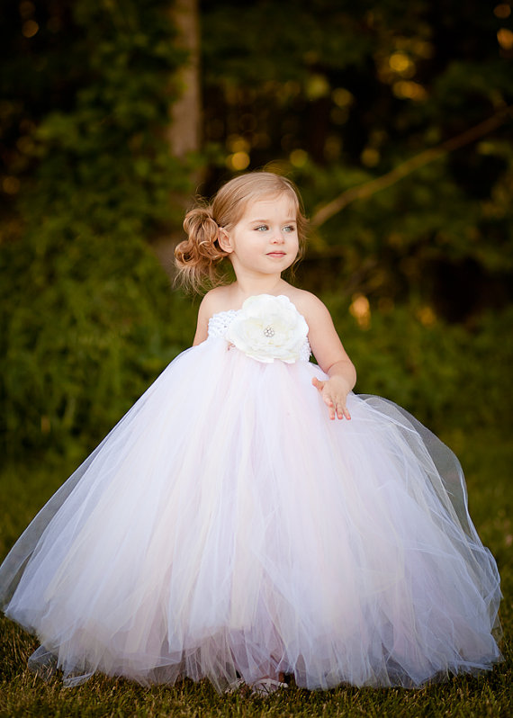 White Vintage Rose Flower Girl Tutu Dress With Lace Detail