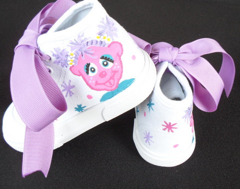 Abby Cadabby Hand Painted High Top Little Girls Shoes