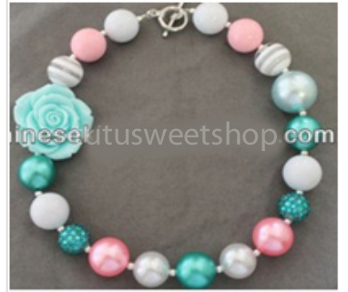 Pink and Aqua Gumball Chunky Girls Necklaces