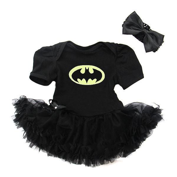 2 Piece Batman Inspired Halloween Baby Tutu Outfit Costume