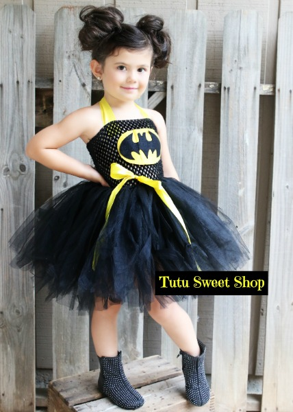 Handmade Batgirl Inspired Tutu Oufit Costume For Girls With Mask