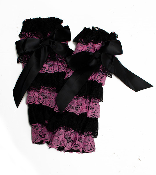Black and Pink Lace Ruffled Legwarmers