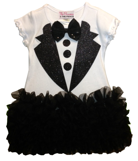Black and White Girls Glitter Ruffled Tuxedo Dress
