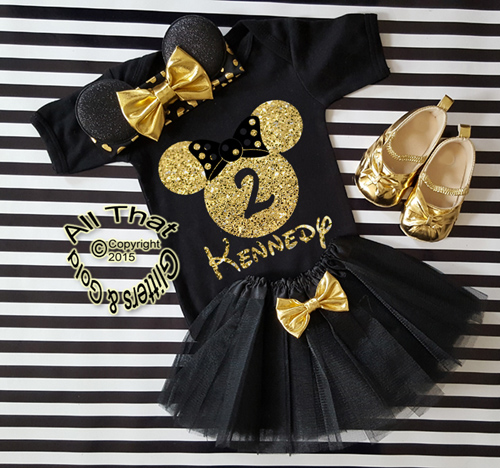3pc Black and Gold Glitter Personalized Minnie Inspired Birthday Tutu Outfit Ages 1-6