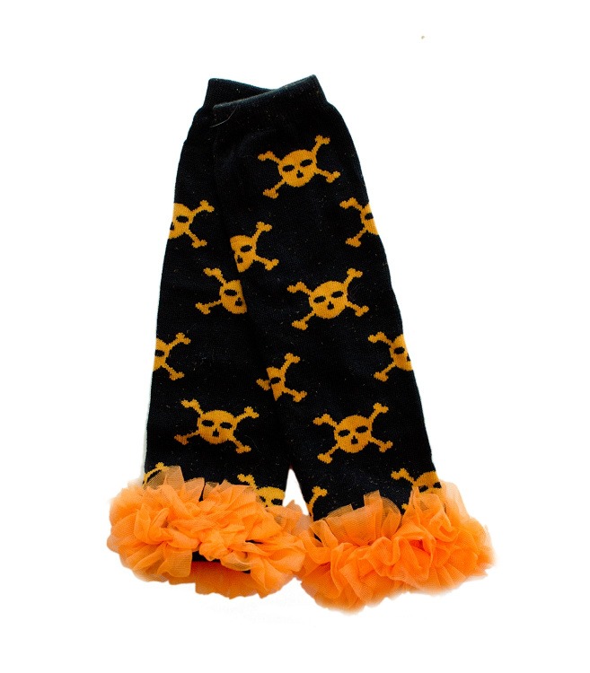 Black and Orange Skulls Ruffled Legwarmers