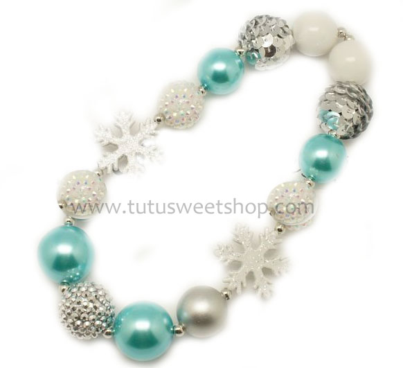 Blue Winter Snowflake Beaded Holiday Chunky Girls Necklaces