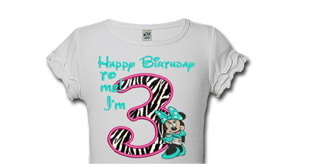 Aqua and Black Zebra Print Minnie Personalized Girls Birthday Shirts